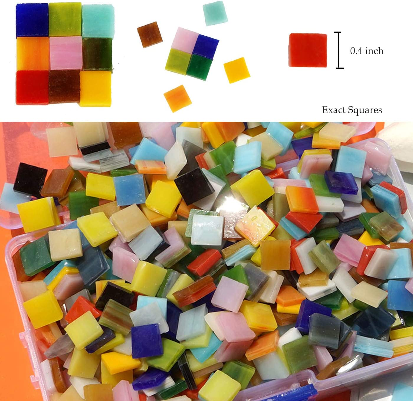 Lanyani 800 Pieces Mosaic Tiles Stained Glass Triangle(Opaque-1.1 pounds) Assorted Colors for Art Craft and Home Decorations 500g//1.1lb /…