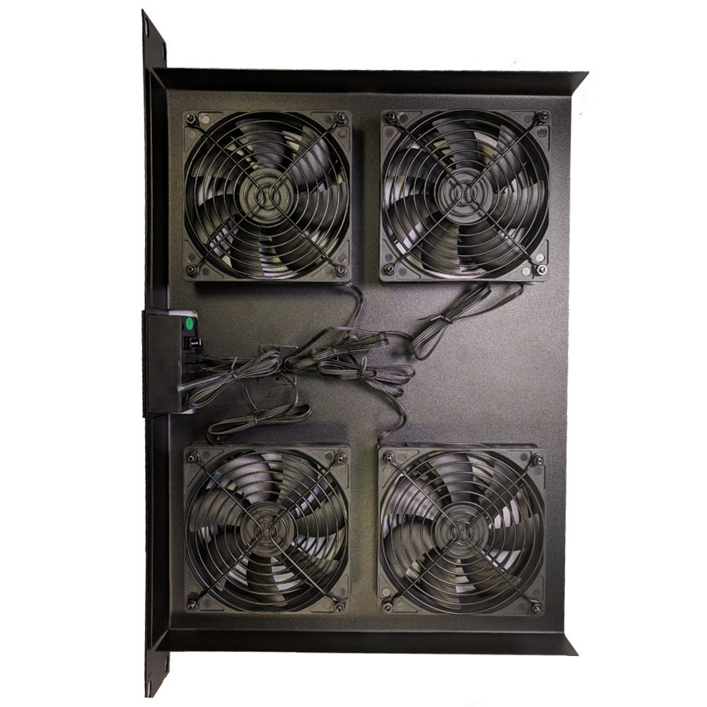 Coolerguys 1U 4 Fan Rackmount Cooling System with LED Programmable Thermal Controller (Low Speed)