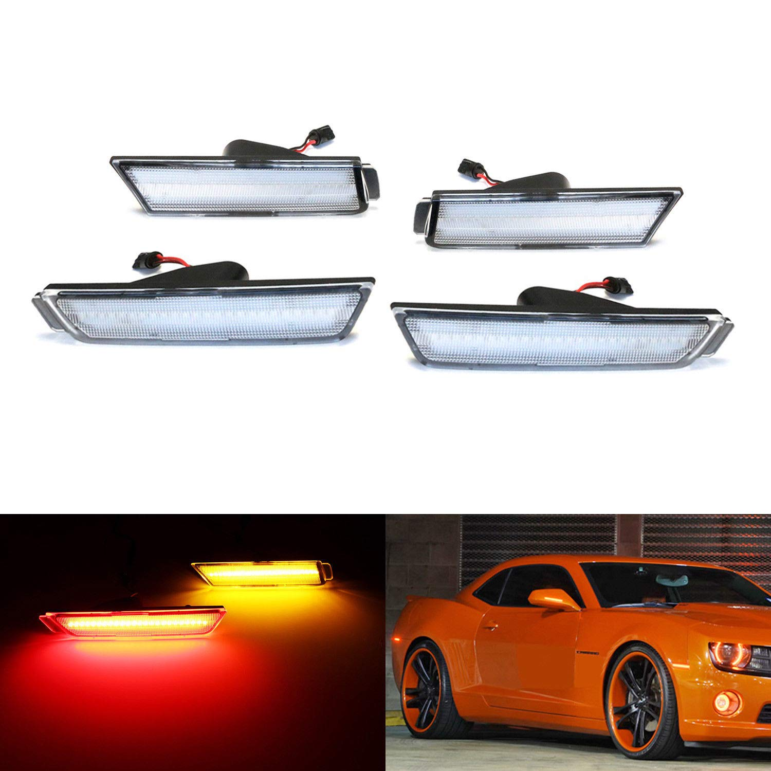iJDMTOY (4) Smoked Lens Front & Rear Side Marker Lamps with 96-SMD LED Lights For 2010-2015 Chevrolet Camaro (Front: Amber, Rear: Red) iJDMTOY Auto Accessories Direct Fit Sidemarker Lamp Replacement