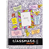 Classmate 2100131 Soft Cover 6 Subject Spiral Binding Selfie Notebook, Single Line, 300 Pages