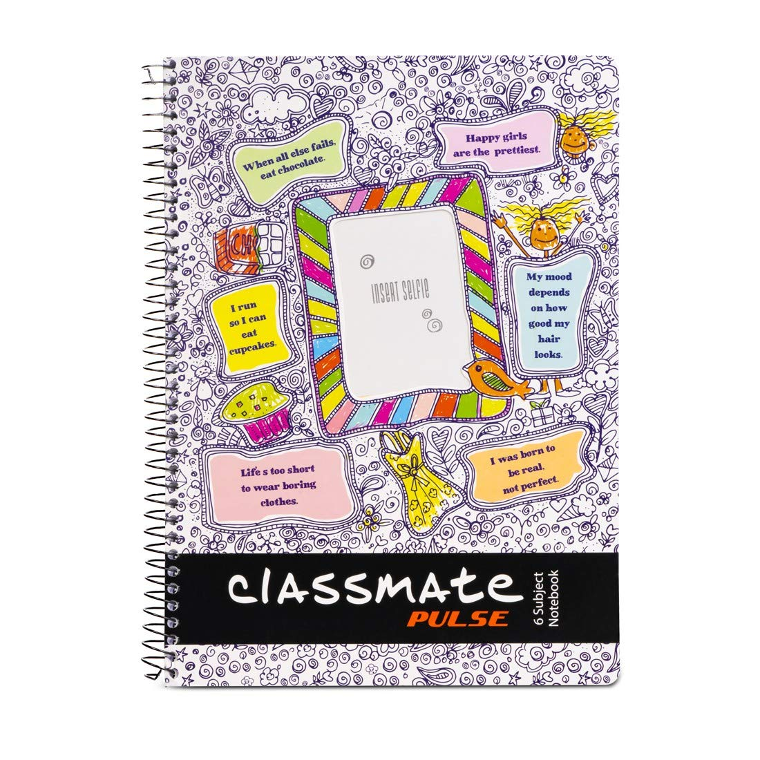 Classmate Pulse 6 Subject Notebook - Single Line, 300 Pages, Spiral  Binding, 240mm*180mm