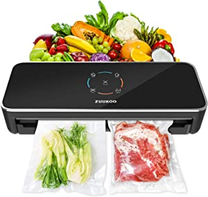 Vacuum Sealer Machine, ZUUKOO Automatic Food Sealer, Dry/Moist/Manuel/Seal Modes, One-Touch Operation, 70Kpa High Suction Automatic Air Sealing System for Food Preservation(10 Vacuum Bags Included)