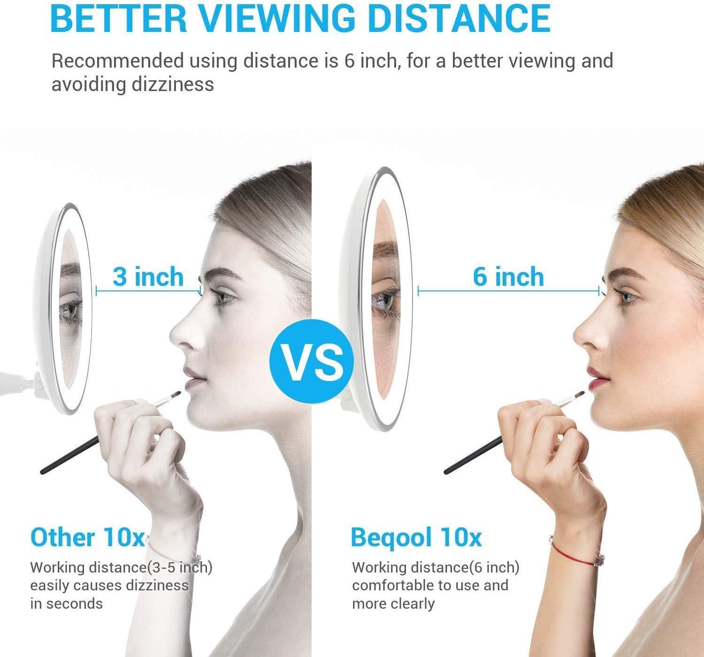 10X Magnifying Lighted Vanity Daylight White LED Portable Illuminated Bathroom Mirror BEQOOL1 Makeup Mirror