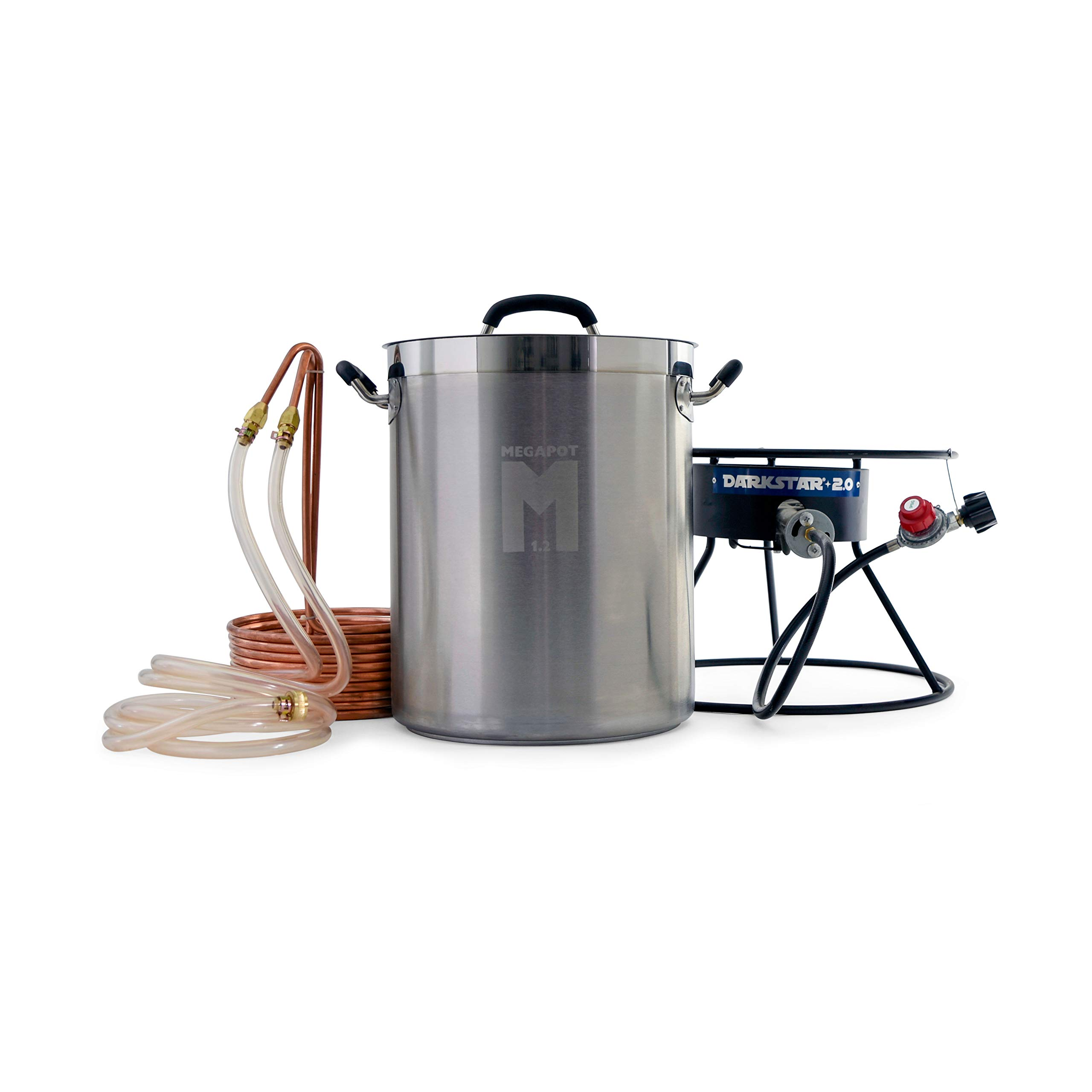 Brewhouse Ignition Pack Assembly - 8 Gallon Brew Kettle, Dark Star Propane Burner 2.0 And Copper Immersion Wort Chiller Equipment Combo For Home Brewing