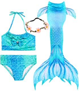 959d348e975 Garlagy 3 Pcs Girls Swimsuit Mermaid Tails for Swimming Princess Bikini  Bathing Suit Set Can Add