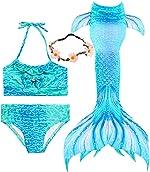 iGeeKid 3 Pcs Girls Swimsuit Mermaid for Swimming Princess Mermaid Birthday