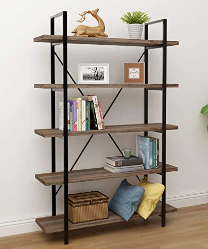 45MinST 5-Tier Vintage Industrial Style Bookcase Metal and Wood Bookshelf Furniture for Collection,Gray Oak Brown, 3 4 5 Tier 5-Tier