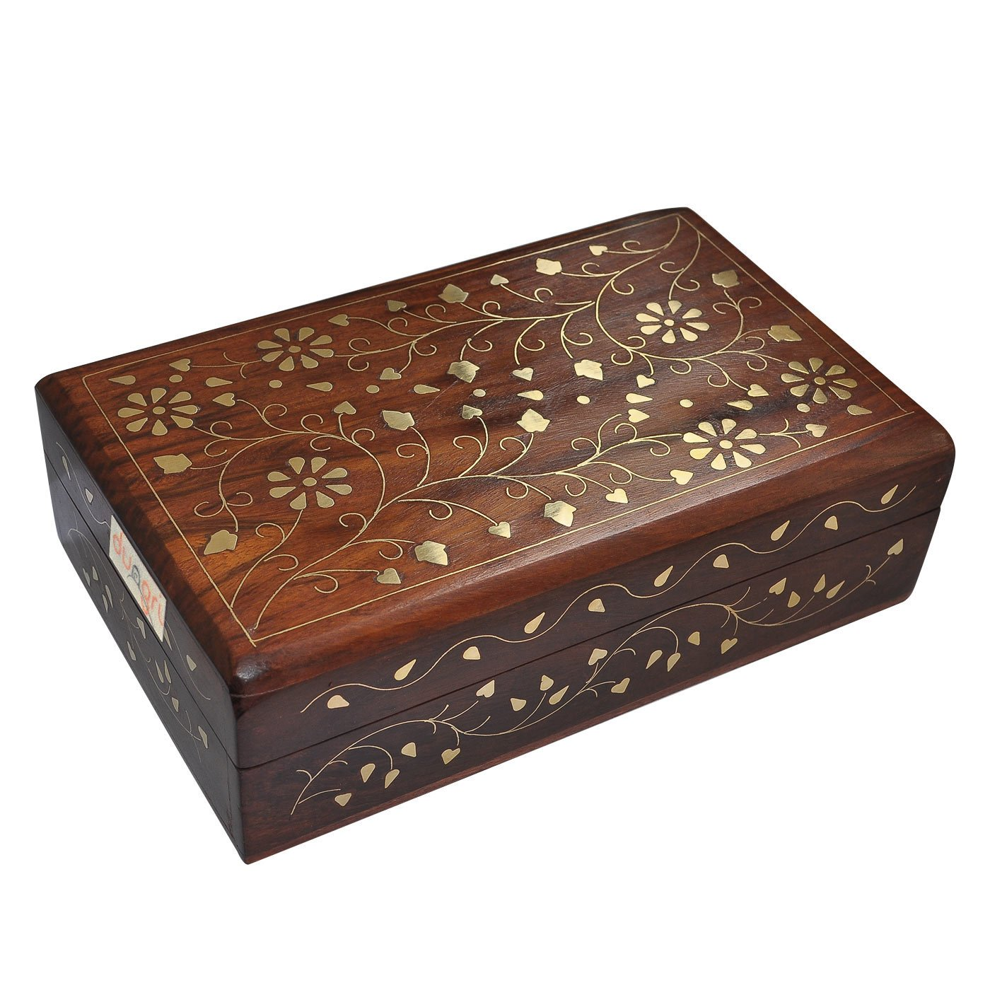 Dungricraft Wooden Jewelry Box Brass Inlay Unique Floral and Leaf Golden Color Design Dungri India Craft