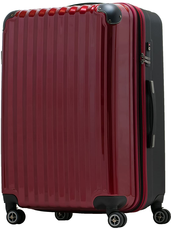【JP Design】スーツケース 超軽量 tsaロック 容量アップ拡張機能付 ダブルキャスター8輪(機内持込~LL 全4サイズ)ハードキャリー ファスナータイプ キャリーバッグ キャリーケース B01719SX9W LL|ワイン/BK ワイン/BK LL