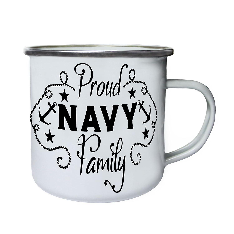 Familia orgullosa de la Armada Retro, lata, taza del esmalte 10oz/280ml bb768e INNOGLEN