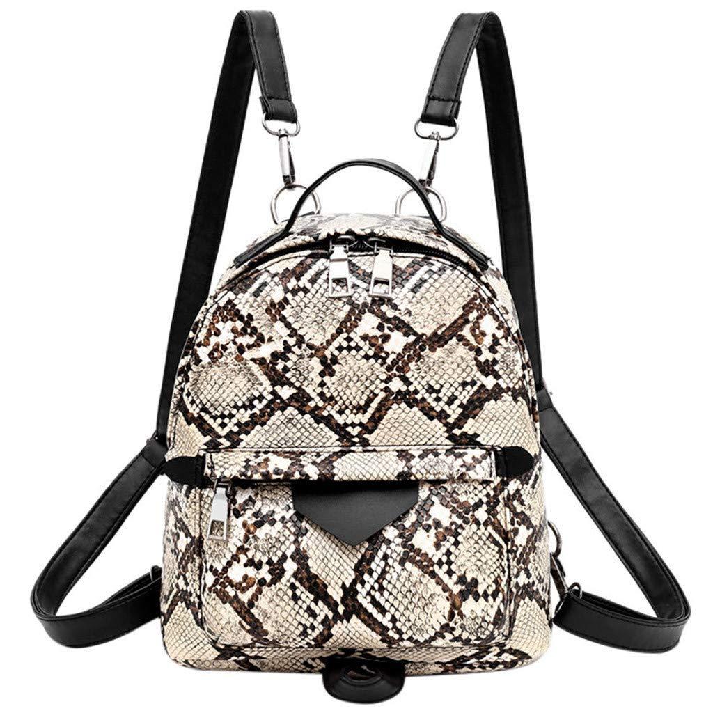 Mini Packpack Animal Pattern Shoulder Bag Detachable Shoulder Strap Daypack Large Capacity Handbag for Women By Lmtime(Khaki)