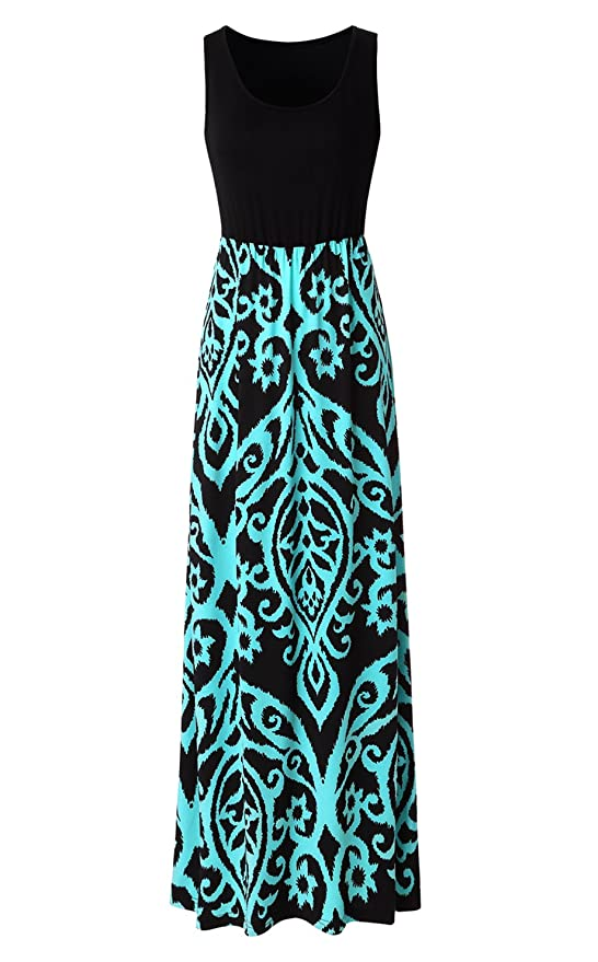 Zattcas Womens Summer Contrast Sleeveless Tank Top Floral Print Maxi Dress Black Aqua Large