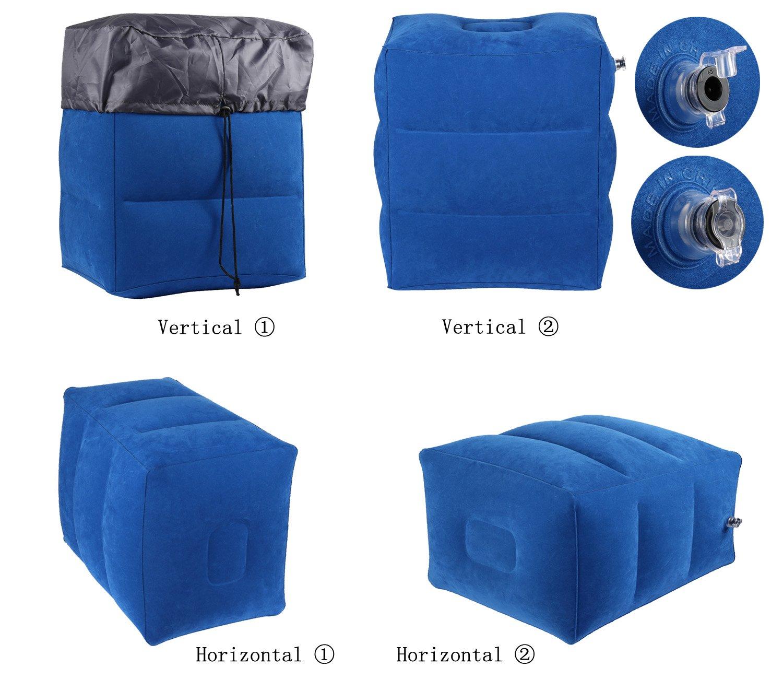 Almohada Inflable de Viaje para Descansar los Pies y para Niños Durmiendo en Aviones (Azul)