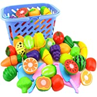 Junshion Kids Pretend Role Play Kitchen Fruit Vegetable Food Toy Cutting Set Gift