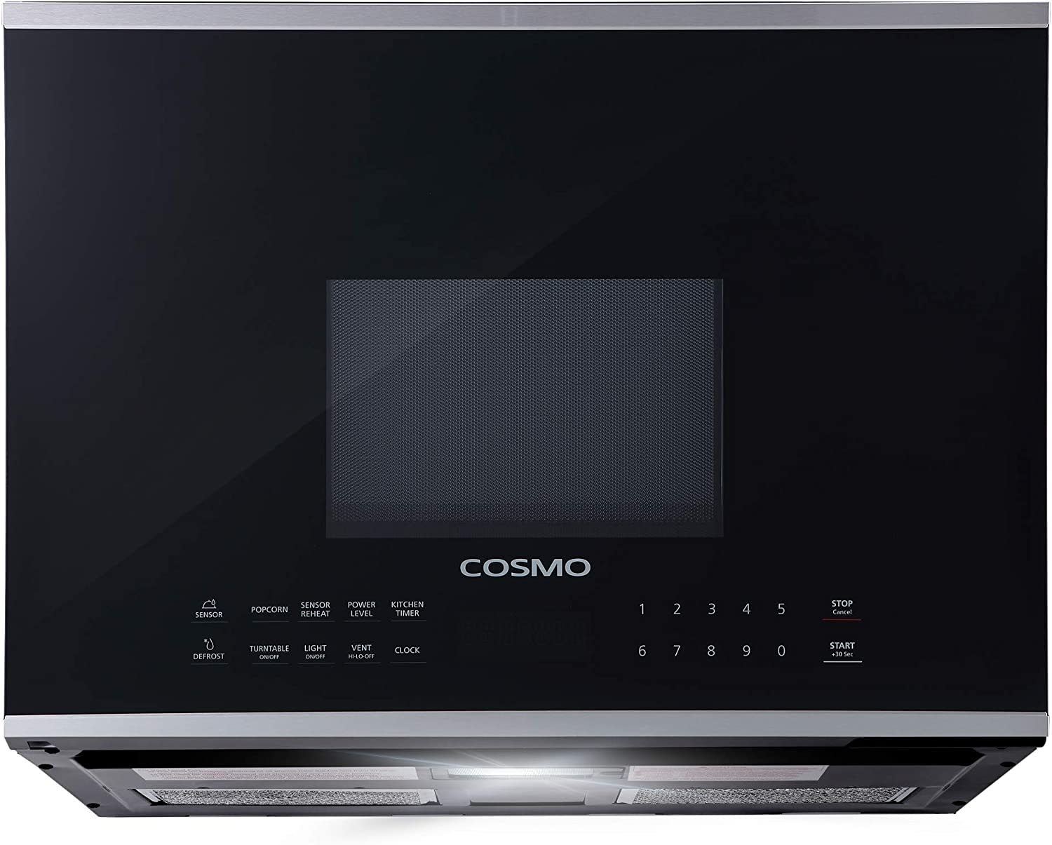 Cosmo COS-2413ORM1SS Over The Range Microwave Oven with Vent Fan, Touch Presets, Sensor Cook and Reheat, 10 Power Levels, 1000W & 1.34 cu. ft. Capacity, 24 inch, Black/Stainless Steel