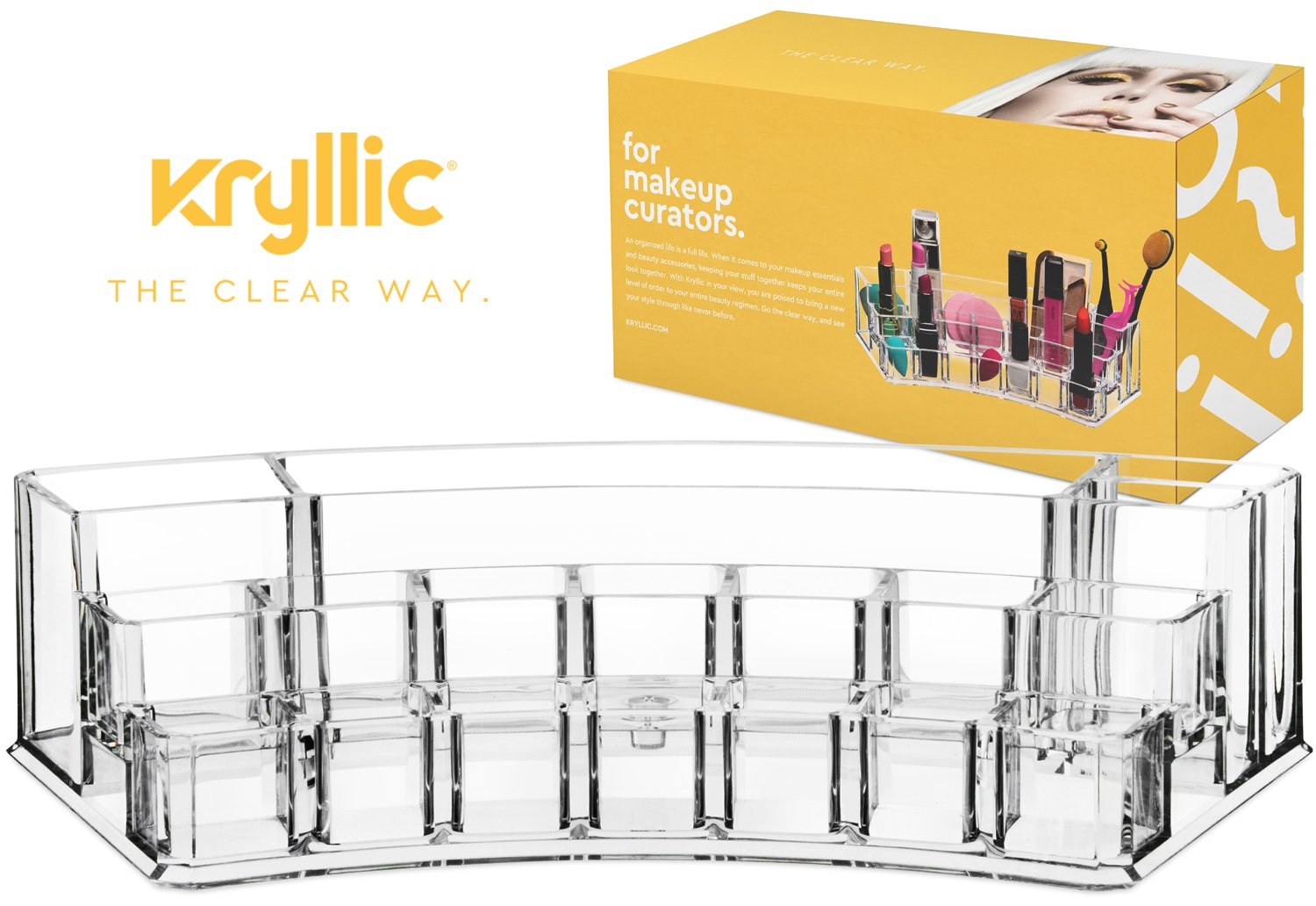 Acrylic Lipstick Brush Display Holder - Beautifully Shaped Multi Section Makeup Organizer Fits Lipstick Nail Polish Brushes & Bottles Made Thick & Strong With the Highest Quality Acrylic Material
