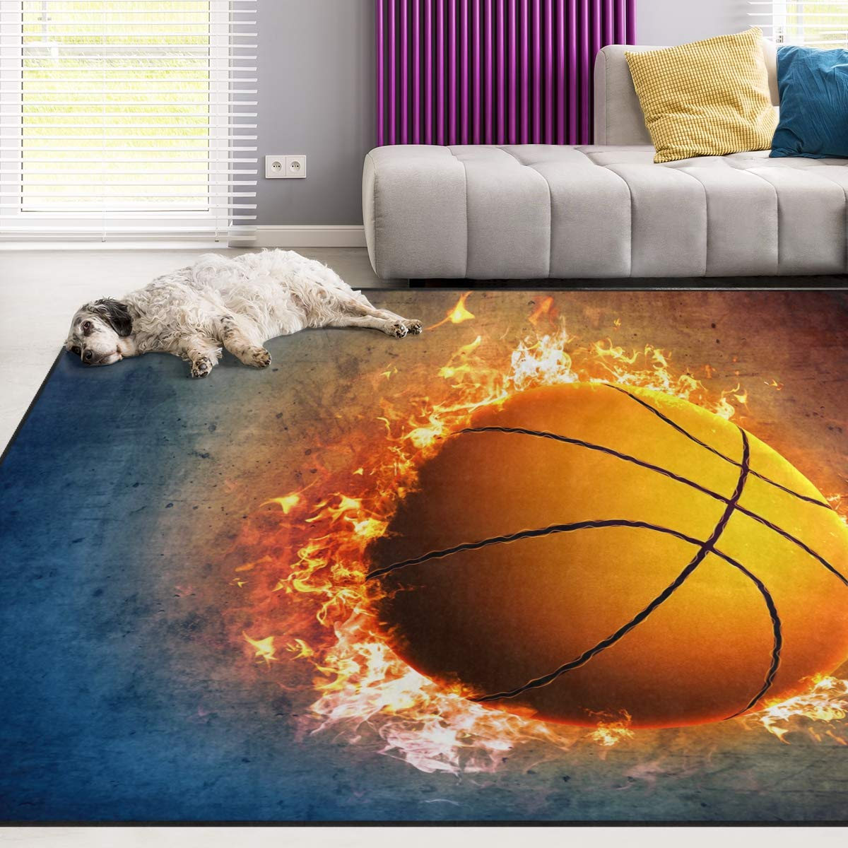 Naanle Sport Area Rug 4 x6 , Fire Basketball Polyester Area Rug Mat for Living Dining Dorm Room Bedroom Home Decorative