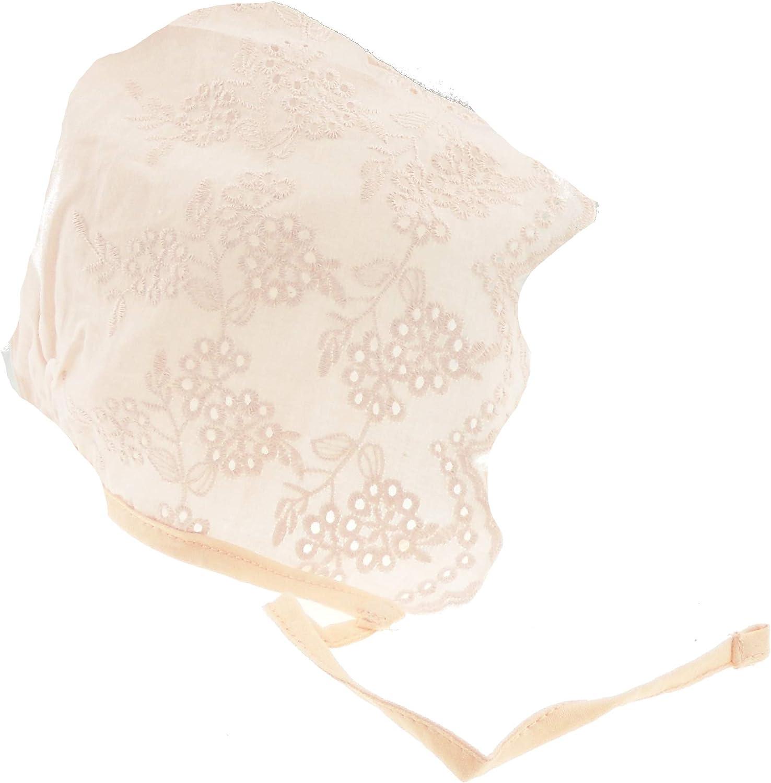 Beanie Bonnet en coton brod/é pour b/éb/é fille 3 /à 12 mois blanc blanc S