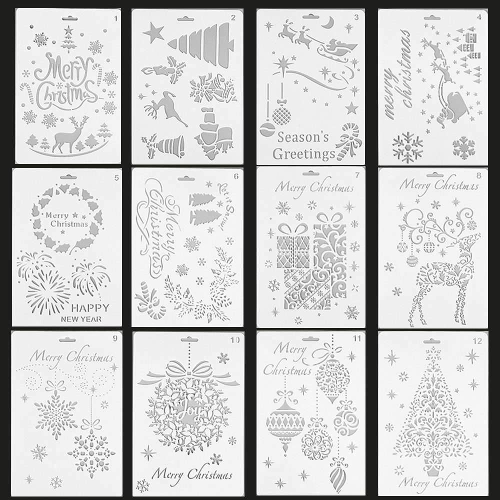 LJZspangle 12 Pack Christmas Stencils Bullet Journal Stencil Template, Merry Christmas,Santa Claus,Christmas Tree,Snowflakes,Bulbs,Reindeers for Card DIY Drawing Painting Craft Projects