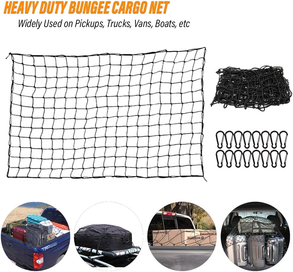 MAY.T 3x4 Super Duty Bungee Cargo Net Stretches to 6x8 for Pickup Truck SUV RV Trailer Boat