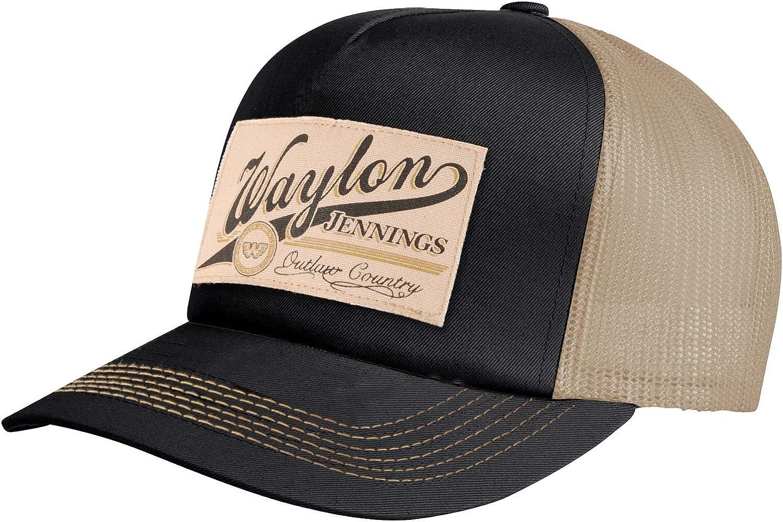 "Waylon Jennings /""Outlaw Country/"" Mesh Back Trucker Hat Adjustable Snapback Cap"