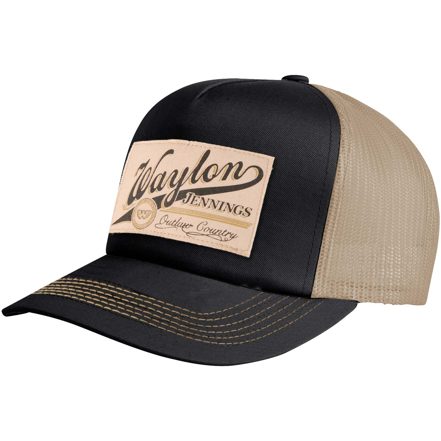 Waylon Jennings Men's Patch Trucker Hat Trucker Cap Cream KINGS ROAD MERCH