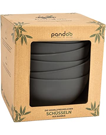 pandoo bambú Cuencos Juego de 6 – sin BPA & lebensmittelecht – Picnic & Camping Vajilla