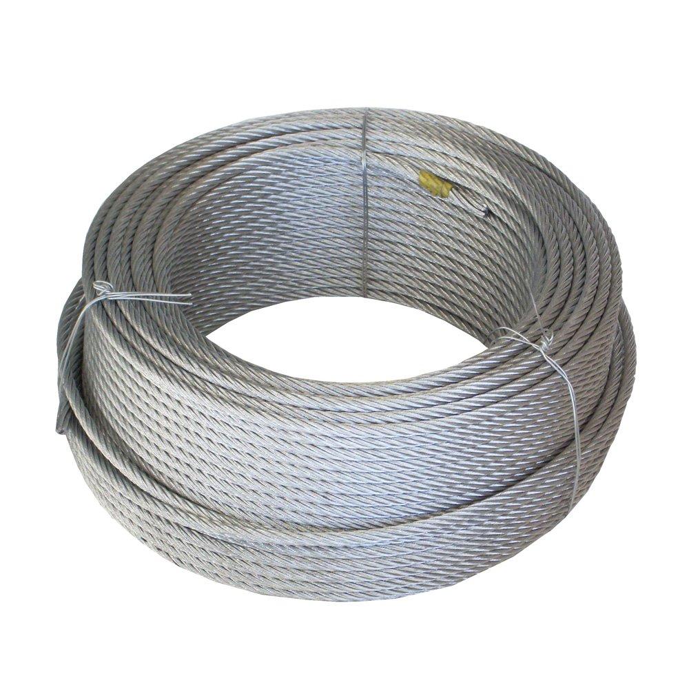 WURKO 12013008 Cable-5 mm Acier Galvanisé (6 x 7 x 1-) bobine 100 m
