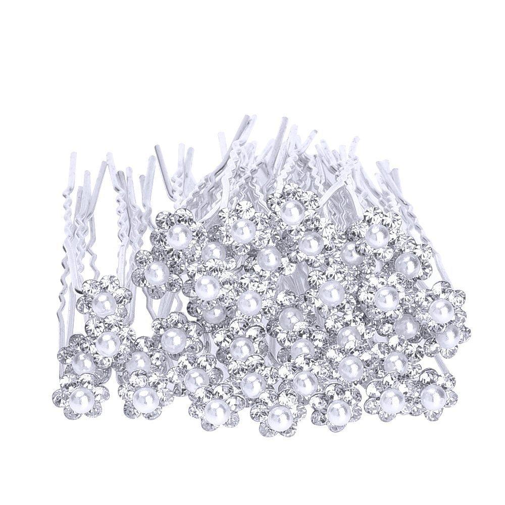 40 Pack Horquillas para Cabello de Boda Horquillas de Novia Pasadores de Pelo Flor, Blanco eBoot