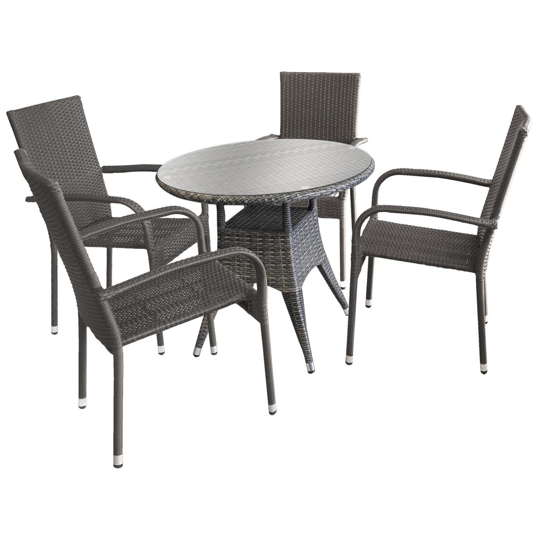 5tlg Sitzgarnitur Sitzgruppe Gartengarnitur Bistrogarnitur
