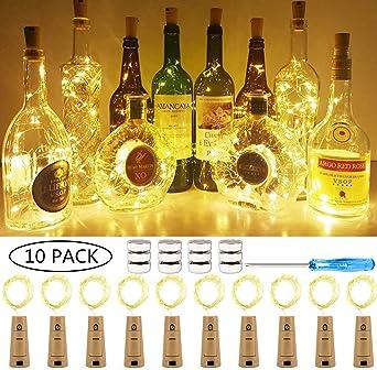 SiFar Blanca cálida, guirnaldas LED, Vino, Mini Alambre de Cobre ...