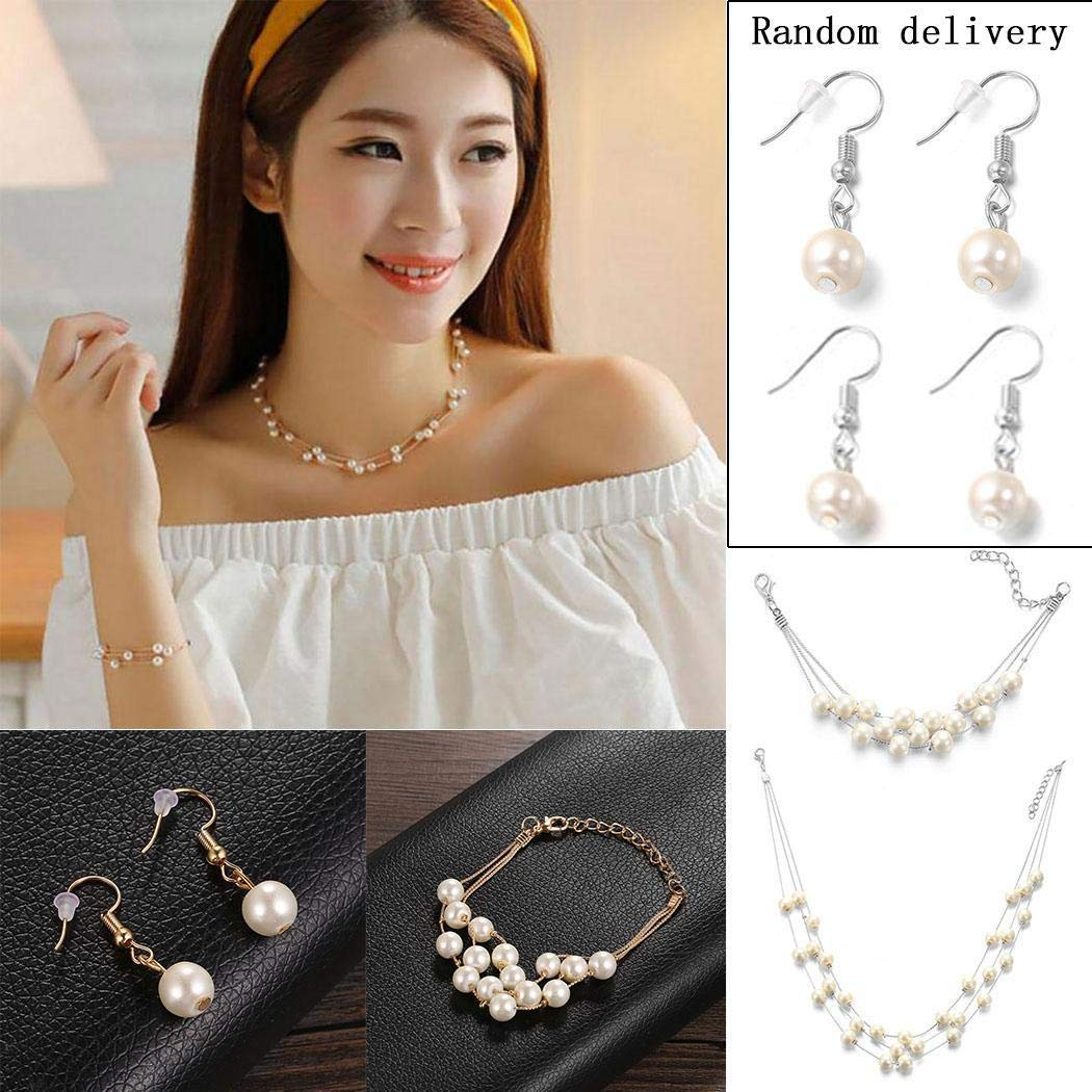 Yealsha Silver Gold Faux PearlsNecklace Earrings Ring Bracelet Jewelry Set Costume Wedding Jewelry Sets