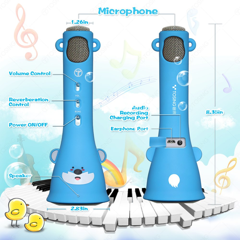 TOSING X3 Microphone for Kids Portable Wireless Microphones Karaoke with Bluetooth Speaker for Music Playing and Singing Machine System for iPhone/Android Smartphone/Tablet (Blue) by TOSING (Image #4)