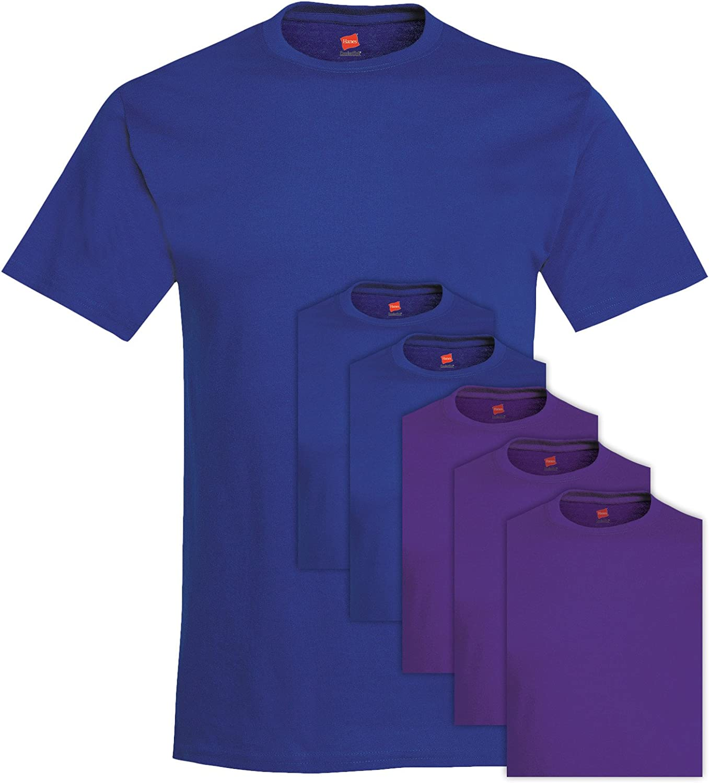 3 Purple Hanes 5280 Comfortsoft Mens 6 Pack Crew Neck Tee 2X-Large 3 Deep Royal