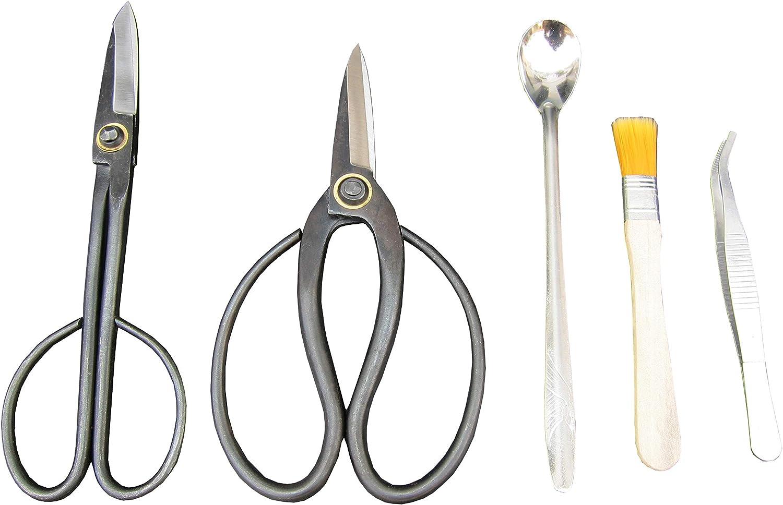 2Piece Forged Bonsai Shear Set, Bonsai Tools Incl. Stainless Steel Spoon, Tweezer, Dust Brush as Bonus, Professional Bonsai Trimming Shears 2-Pack