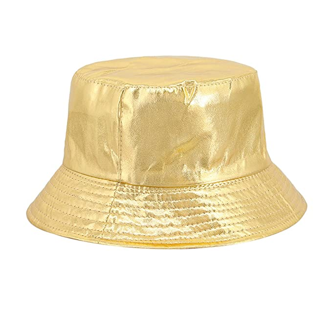 784324fb63c Surkat Unisex Metallic Foldable Bucket Hat Reversible Fisherman Cap Travel Sun  Hat(Gold)