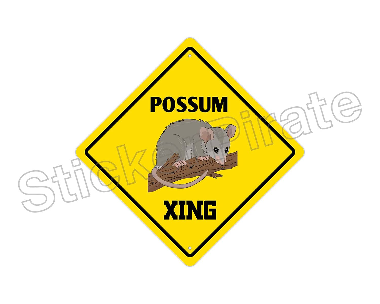 StickerPirate Possum Crossing Funny Metal Novelty Sign Aluminum