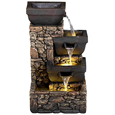 20  Catania 4-Tier Cascading Waterfall Fountain w/LED Lights: Stone Bowl Outdoor Water Feature for Gardens & Patios. Weather Resistant Hand-Crafted Design. HF-B12-20L