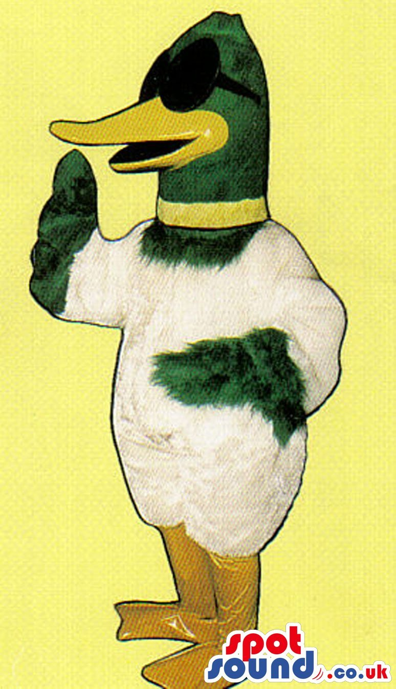 Funny White And Green Duck Plush SPOTSOUND US Mascot Costume With Sunglasses