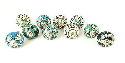 Green Color Assorted Handpainted Ceramic Door Knobs Kitchen Cabinet Knobs