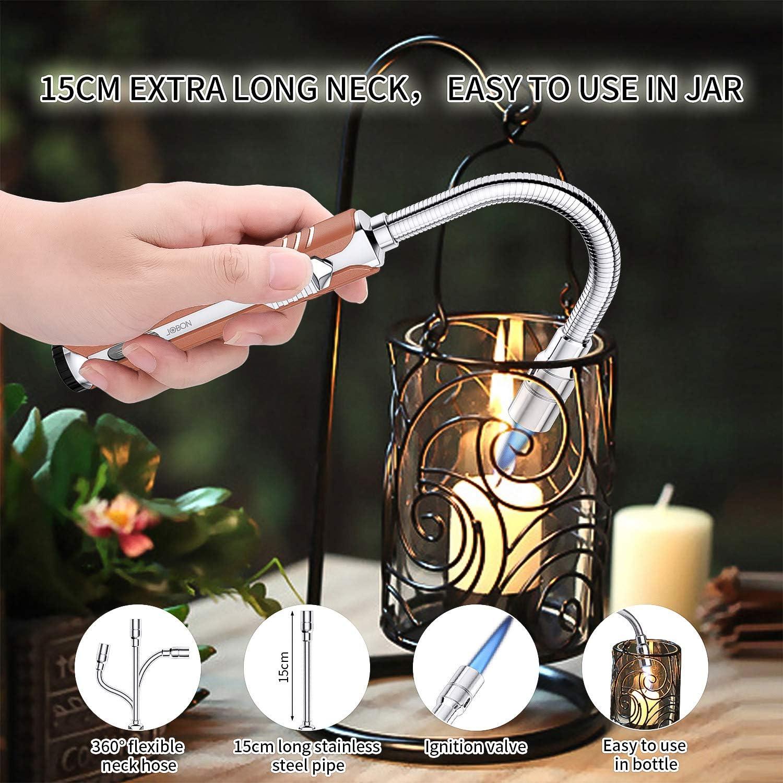 JOBON Encendedor de Cocina de Gas Mechero Cocina Encendedor de Vela Encendedor de Barbacoa Ajuste Llama Antorcha 360 ° Cuello Flexible Soplete Gas ...