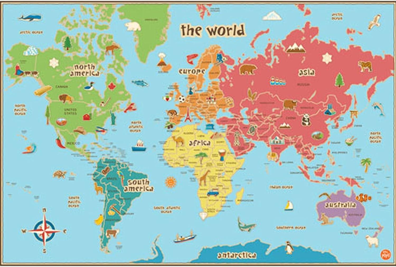 Wallpops feuillet/é effa/çables /à sec avec stylo 61 cm x 91 cm Carte du monde Kids