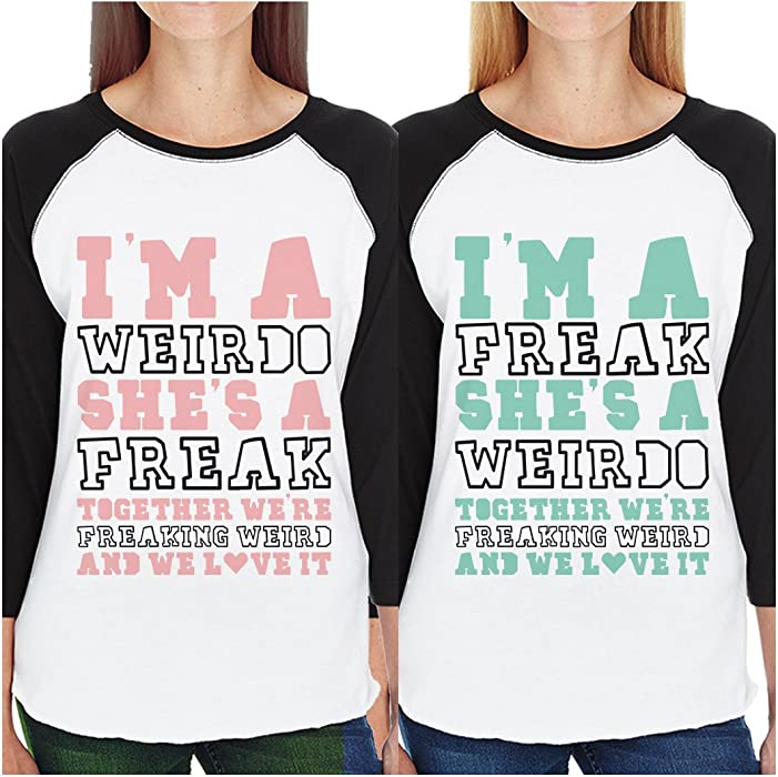 2394b3b31 365 Printing Weirdo Freak BFF Matching Baseball Jerseys Funny Best Friend  Gifts (Left- 2XL