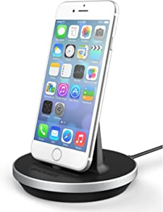 Encased iPhone 7 Dock, Fast Charge Desktop Charging Stand (case Compatible) DockMate² MFI Certified Lightning Charger (Fully Adjustable Design) Aluminum/Black