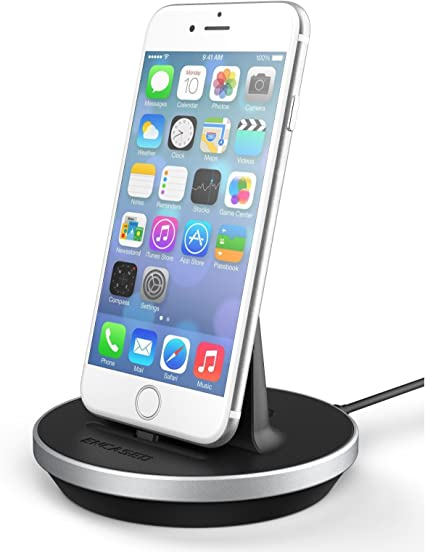 Amazon Com Encased Iphone 7 Charger Dock Fast Charge Desktop Charging Stand Case Compatible Dockmate Mfi Certified Lightning Charger Fully Adjustable Design Aluminum Black Iphone 8