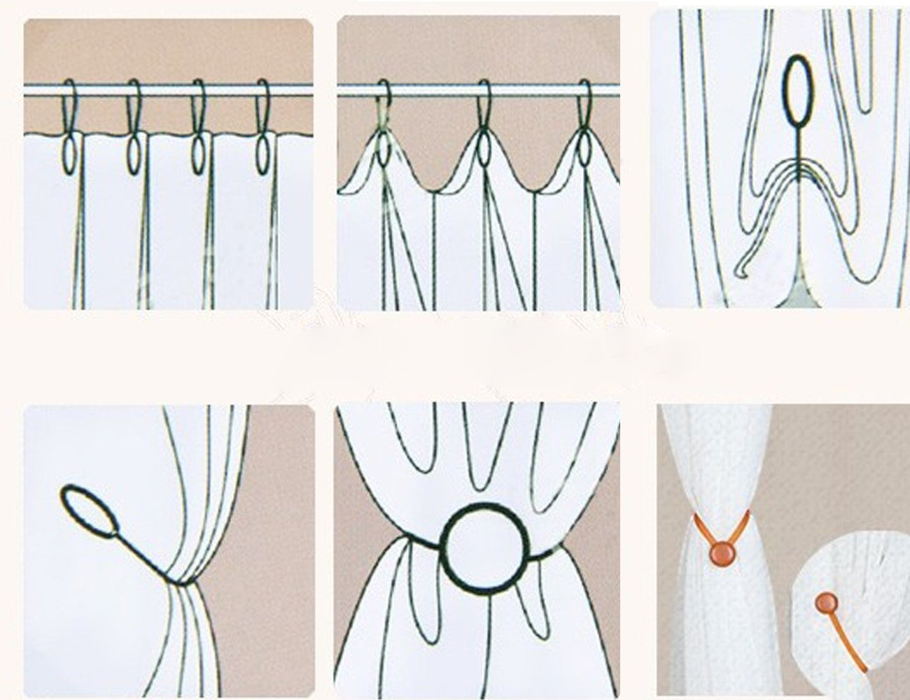 Beige White Shinywear 2 Pieces Classic Strong Magnetic Curtain Tiebacks Clips Home Office Decorative Drapes Holdbacks Holders European Style Solid Color Eco-friendly Durable Fiber Material