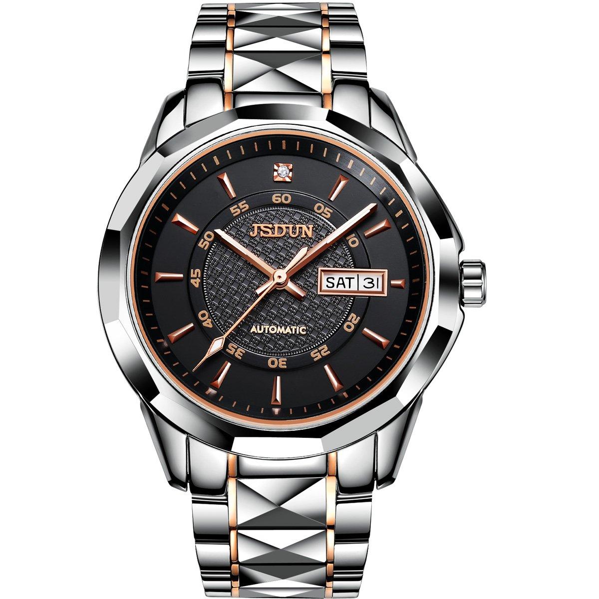 JSDUN Men's Big face Waterproof Auto Mechanical Tungsten Steel Business Wrist Watch, Week Date Window Black/ White Dial
