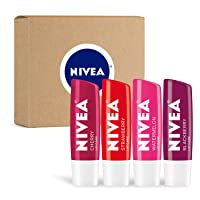 NIVEA Lip Care Fruit Variety Pack - Tinted Lip Balm for Beautiful, Soft Lips - Pack of 4