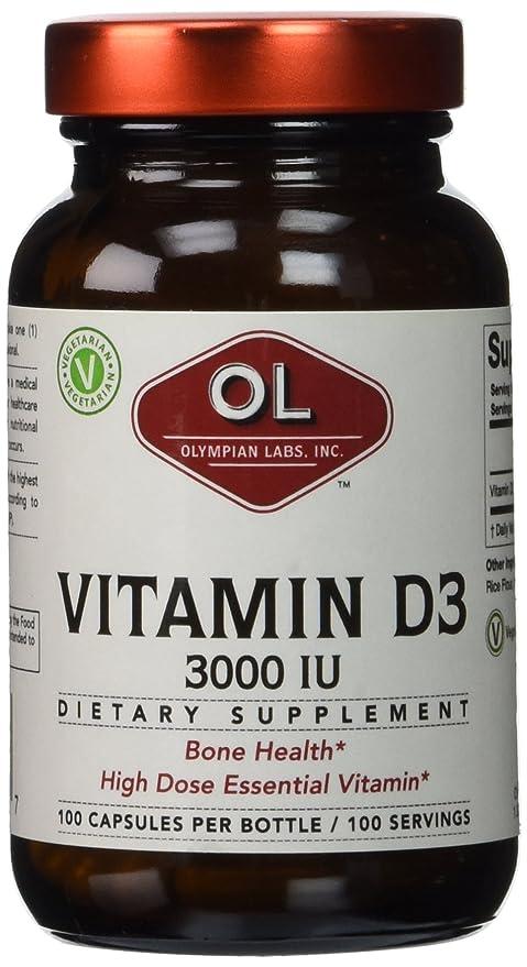 La vitamina D3, 3000 UI, 100 Cápsulas - Olympian Labs Inc.