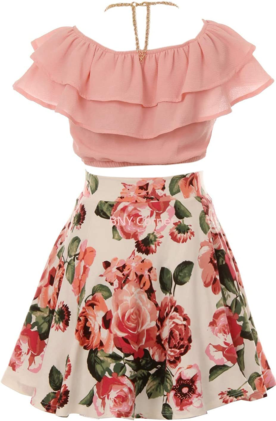 BNY Corner 3 Pieces Girls Ruffle Top Floral Skirt Party Clothing Dress Set